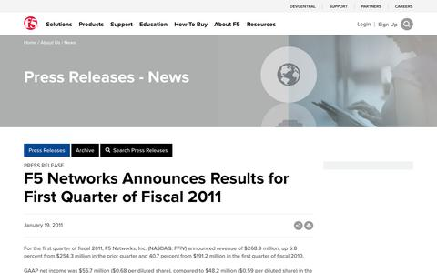 Screenshot of Press Page f5.com - F5 Networks Announces Results for First Quarter of Fiscal 2011 - captured March 8, 2018