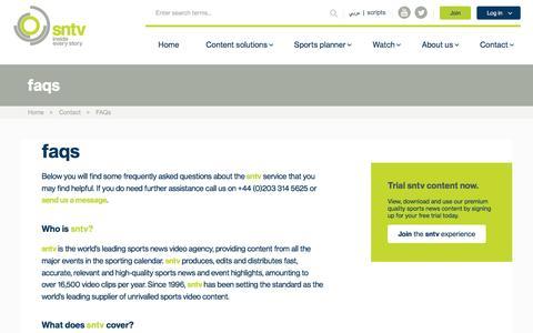 Screenshot of FAQ Page sntv.com - sntv - Frequently asked questions - FAQ's | sntv - captured Dec. 12, 2016