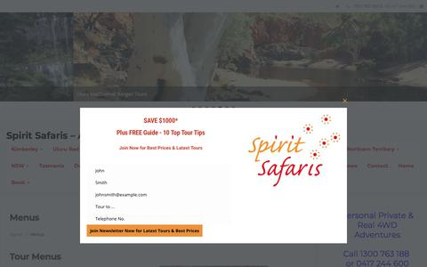 Screenshot of Menu Page spiritsafaris.com - Menus - captured Sept. 21, 2018
