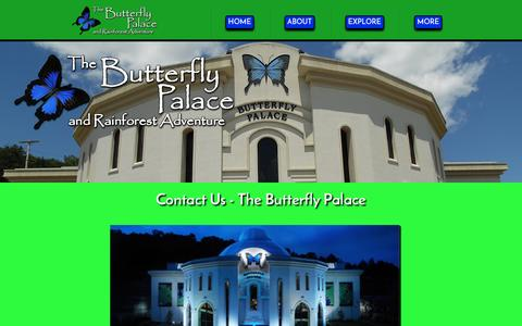 Screenshot of Contact Page thebutterflypalace.com - Contact Us - The Butterfly Palace - captured June 21, 2016