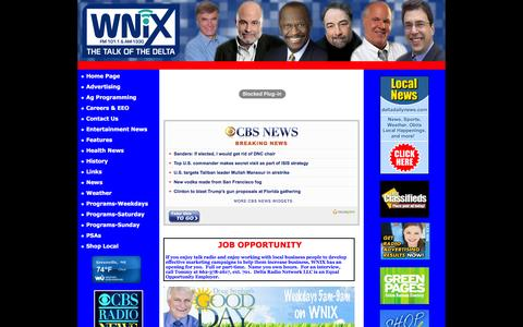 Screenshot of Home Page wnixradio.com - WNIX Radio - WNIX Radio - The Talk of the Delta - captured May 22, 2016