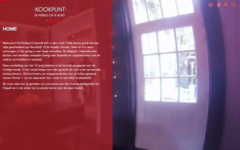 Screenshot of Home Page kookpunt.be - ·KOOKPUNT· Restaurant  Hasselt |  DE WERELD OP JE BORD - captured Oct. 12, 2015