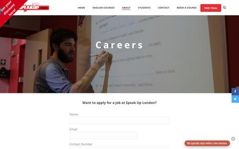 Screenshot of Jobs Page speakuplondon.com - Speak Up London | Careers - captured Sept. 21, 2018