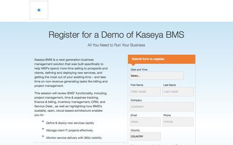 Screenshot of Landing Page kaseya.com - Register for a Demo of Kaseya BMS - captured Sept. 19, 2018