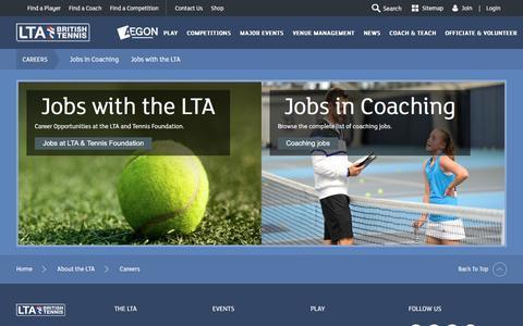 Screenshot of Jobs Page lta.org.uk - Careers in tennis | Tennis in Britain - captured Sept. 20, 2016