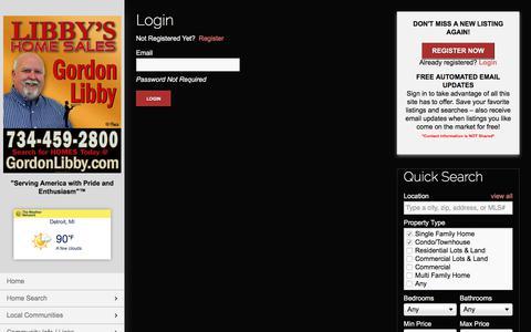 Screenshot of Login Page libbyshomesales.com - User Login | Libby's Home Sales I Gordon Libby | 734-216-2188 | Downriver MI Homes for Sale - captured July 3, 2018