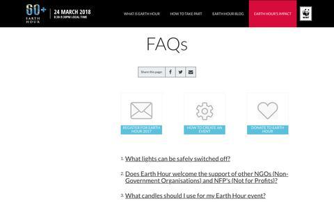 Screenshot of FAQ Page earthhour.org - EarthHour FAQs   Earth Hour - captured June 29, 2017