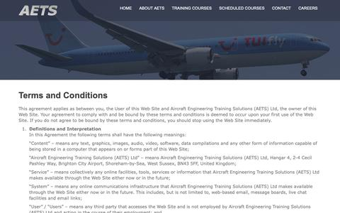 Screenshot of Terms Page aetsltd.com - Aircraft Engineering Training Solutions Ltd Terms and Conditions - captured Oct. 3, 2018