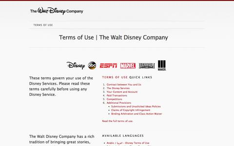 Screenshot of Home Page Terms Page disneytermsofuse.com - Disney Terms Of Use | The Walt Disney Company - captured Nov. 19, 2015