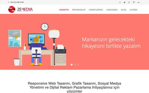 Screenshot of Home Page zemedya.com - Web Tasarım - Seo - Sosyal Medya Yönetimi - Dijital Reklam istanbul - captured Feb. 17, 2016