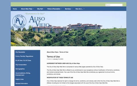 Screenshot of Terms Page cityofalisoviejo.com - Terms of Use - City of Aliso Viejo - captured July 13, 2016
