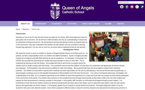 Screenshot of Testimonials Page queenofangelssch.org - Queen of Angels Catholic School - captured April 20, 2017