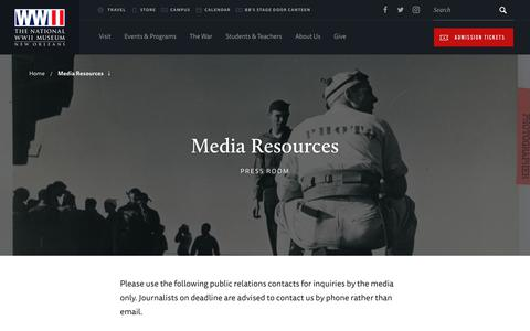 Screenshot of Press Page nationalww2museum.org - Media Resources | The National WWII Museum | New Orleans - captured Sept. 23, 2018