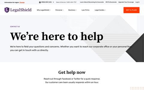 Screenshot of Contact Page legalshield.com - Contact Us | LegalShield USA - captured Feb. 9, 2020