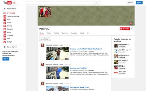 Screenshot of YouTube Page youtube.com - PackH2O  - YouTube - captured Oct. 26, 2014