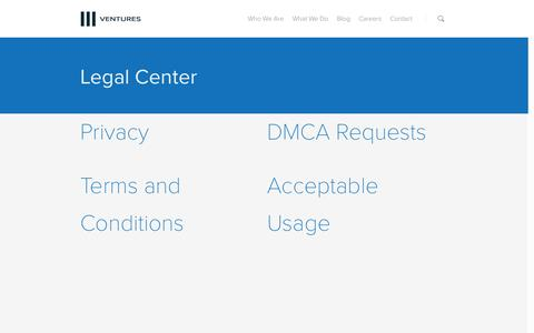Screenshot of Terms Page threeventures.com - Legal | Three Ventures - captured Sept. 24, 2014