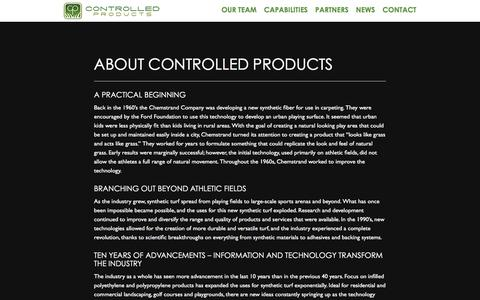Screenshot of About Page cpturf.com - About Controlled Products | Controlled Products, LLC - captured Jan. 31, 2016