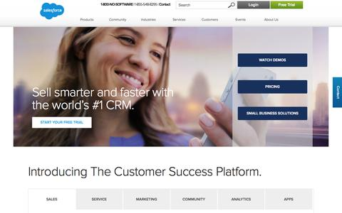 Screenshot of Home Page salesforce.com - CRM and Cloud Computing To Grow Your Business - Salesforce.com - captured Jan. 15, 2015