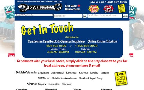Screenshot of Locations Page kmstools.com - Locations / Contact Us : KMS Tools & Equipment from Vancouver BC, Largest selection of tools in Canada - captured Oct. 31, 2014
