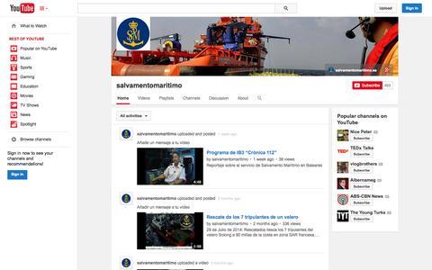 Screenshot of YouTube Page youtube.com - salvamentomaritimo  - YouTube - captured Oct. 23, 2014