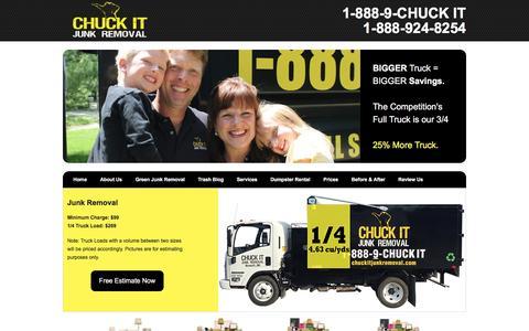 Screenshot of Home Page chuckitjunkremoval.com - Chuck It Junk Removal, Ann Arbor Michigan Trash Hauling - captured Nov. 5, 2016