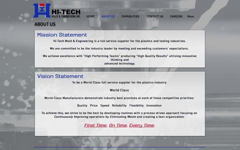 Screenshot of About Page hitechmold.com - Hi-Tech Mold & Engineering, Inc   Plastic Injection Molding Michigan - captured Nov. 7, 2016