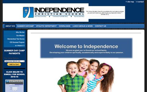 Screenshot of Home Page independencechristianschool.com - Independence Christian School - ABOUT ICS - captured July 27, 2018