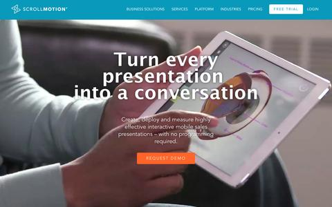 Screenshot of Home Page scrollmotion.com - Mobile App Development - Mobile Presentation App - Mobile Sales App - captured April 27, 2016