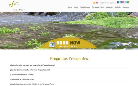 Screenshot of FAQ Page lastorres.com - FAQ   Las Torres Patagonia - captured Nov. 9, 2018