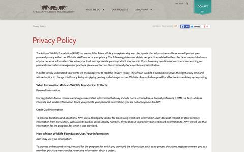 Screenshot of Privacy Page awf.org - Privacy Policy | African Wildlife Foundation - captured Sept. 22, 2014