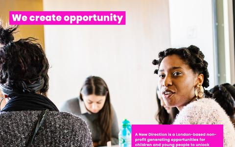 Screenshot of Home Page anewdirection.org.uk - We create opportunity | A New Direction - captured Dec. 7, 2018