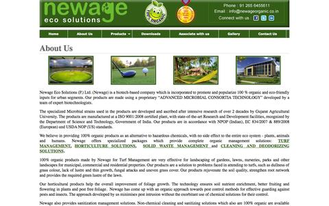 Screenshot of About Page newageorganic.co.in - Organic Gardening Pest Control :: Newage Organic Gardens - captured Oct. 7, 2014
