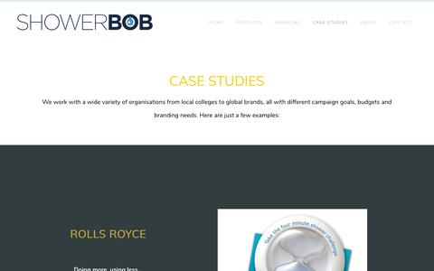 Screenshot of Case Studies Page showerbob.co.uk - ShowerBoB case studies - SHOWERBOB water efficiency products - captured Sept. 20, 2018
