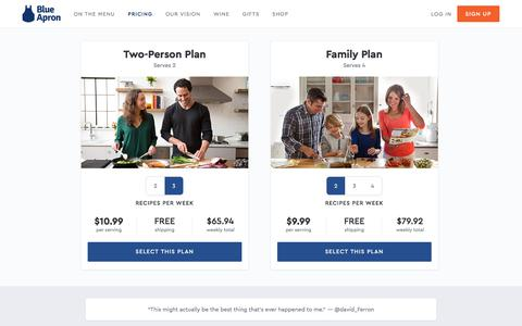 Screenshot of Pricing Page blueapron.com - Blue Apron: Fresh Ingredients, Original Recipes, Delivered to You - captured May 4, 2018