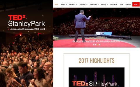 Screenshot of Home Page tedxstanleypark.com - TEDxStanleyPark - captured Sept. 20, 2018