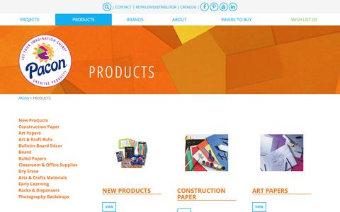 Screenshot of Products Page pacon.com - Products - Pacon Creative Products - captured Oct. 18, 2016