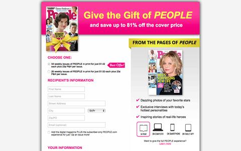 Screenshot of Landing Page people.com - Give the Gift of PEOPLE - captured Dec. 6, 2016