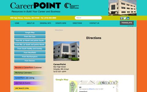 Screenshot of Maps & Directions Page careerpointma.org - CareerPointMA - Directions - captured Oct. 1, 2014