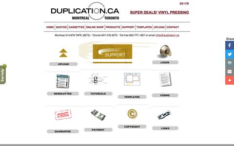 Screenshot of Support Page duplication.ca - Amtech Support Index - captured Aug. 31, 2016