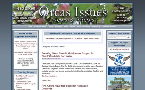 Screenshot of Press Page orcasissues.com - News Archives - Orcas Issues: News & Views - captured Sept. 19, 2014