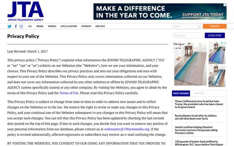 Screenshot of Privacy Page jta.org - Privacy Policy - Jewish Telegraphic Agency - captured Sept. 20, 2018
