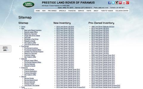 Screenshot of Site Map Page prestigelandrover.com - Prestige Land Rover | Sitemap - captured Sept. 23, 2014