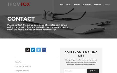 Screenshot of Contact Page thomfox.com - Contact - captured Dec. 2, 2016
