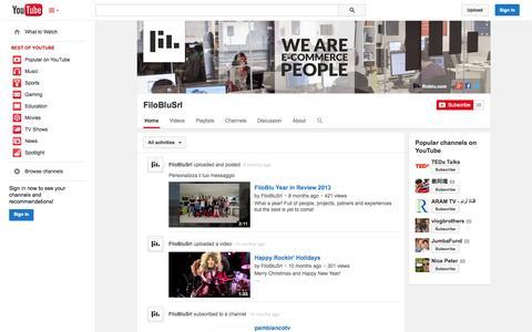 Screenshot of YouTube Page youtube.com - FiloBluSrl  - YouTube - captured Oct. 29, 2014