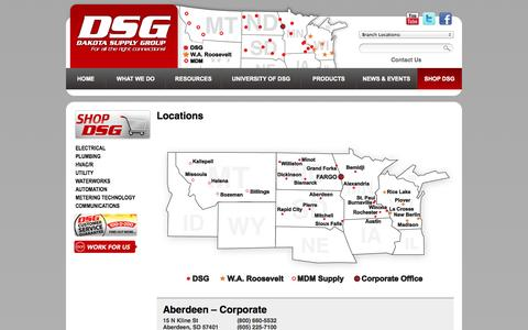 Screenshot of Contact Page Locations Page dakotasupplygroup.com - Locations | Dakota Supply Group - captured Oct. 23, 2014