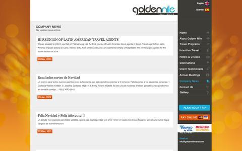 Screenshot of Press Page goldenniletravel.com - Golden Nile Travel Service   News - captured Sept. 30, 2014