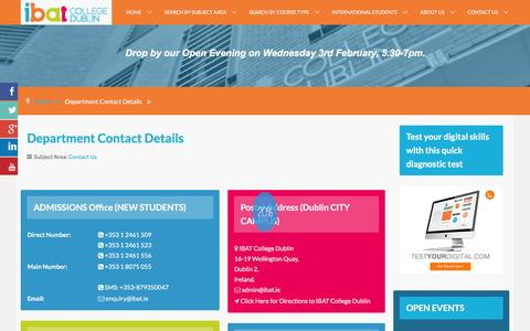 Screenshot of Contact Page ibat.ie - Contact by department | IBAT College Dublin - captured Feb. 3, 2016
