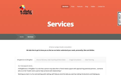 Screenshot of Services Page adatecoach.com - Services: Date Coaching, WingWomen, WingMen, Dating after Divorce, Interracial Dating   Dating Coach, WingWoman, Image Consulting, Interracial Dating - captured April 13, 2016