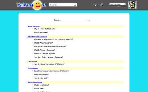Screenshot of FAQ Page yakamore.com - Yakamore - FAQ - captured Sept. 27, 2018