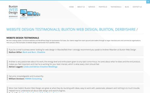 Screenshot of Testimonials Page buxtonwebdesign.co.uk - Website Design Testimonials; Buxton Web Design, Buxton, Derbyshire - captured Oct. 5, 2014